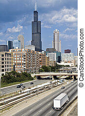 Expressway to downtown Chicago, Il