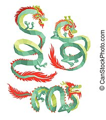 Set of Polygonal Chinese Dragons.