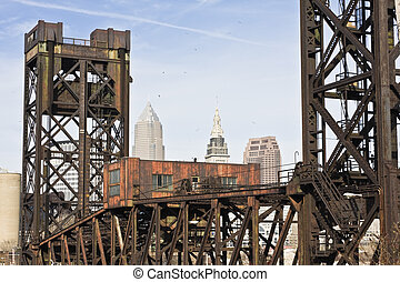 Bridge in Downtown Cleveland - Old Bridge in Downtown...