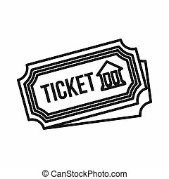 Museum ticket icon, outline style - icon in outline style on...