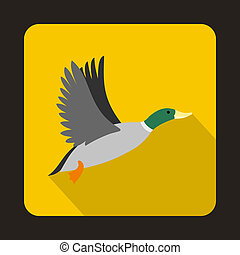 Flying wild duck icon, flat style - Flying wild duck icon in...