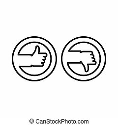 Thumbs up and down buttons icon, outline style
