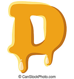Letter D from honey icon isolated on white background....