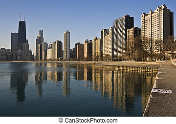 Chicago reflected in Lake Michigan morning time