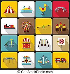 Amusement park icons set, flat style - Amusement park icons...