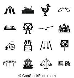 Amusement park icons set, simple style - Amusement park...