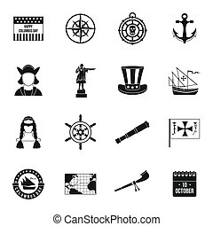 Columbus Day icons set, simple style - Columbus Day icons...