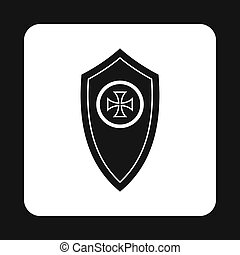 Army shield with cross icon, simple style - Army shield with...
