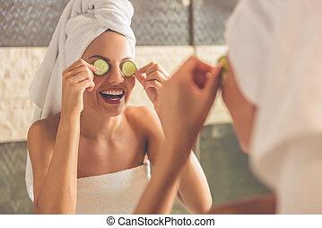 Beautiful woman in bathroom - Beautiful young woman in bath...
