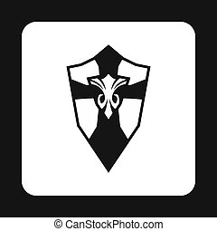 Combat shield with pattern icon, simple style - Combat...