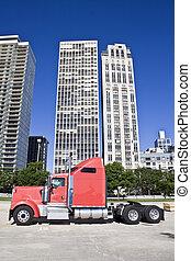 camión, Om, céntrico, chicago