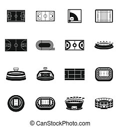 Sport stadium icons set, simple style - Sport stadium icons...
