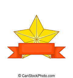 Gold star award with ribbon icon, cartoon style - Gold star...