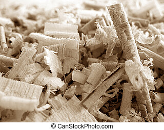Wood Shavings 3 v2 - Close-up of wood shavings of various...