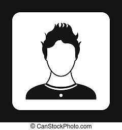 Male avatar icon, simple style - Male avatar icon in simple...