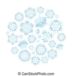 Snowflakes in circle shape, isolated on white