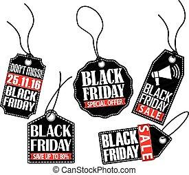 Black friday tag set, vector illustration