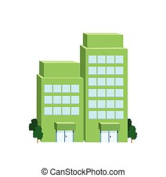 Icon big green building on a white background. Vector...