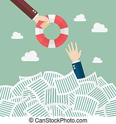 Drowning businessman getting lifebuoy