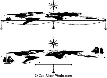set with tall ships, maps and anchors - set of vector...