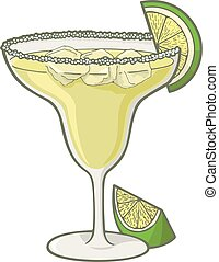 Margarita cocktail illustration with lime slice.