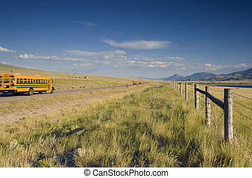 Blurred school bus on the road - School bus on the road of...
