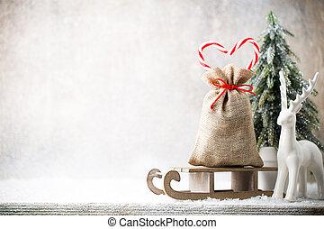 Christmas gard. Gift bag with burlap. Christmas decoration....