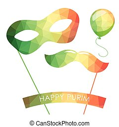 Purim holiday card or banner design. Bright carnival mask,...