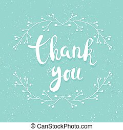 Thank you handwritten calligraphy vector illustration, white...
