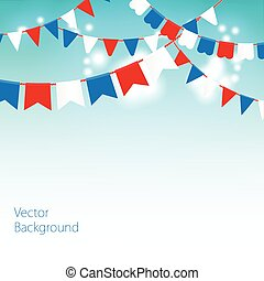 Vector illustration of Blue sky with colorful flags garlands.
