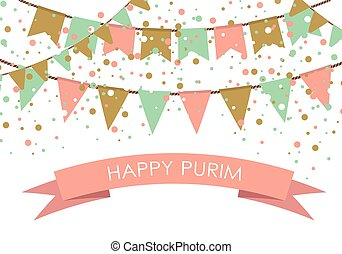 Purim holiday card or banner design. Flag garlands and...