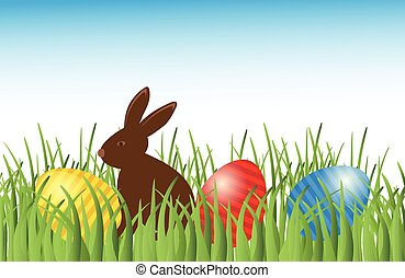 Chocolate bunny with easter eggs in grass. Vector.
