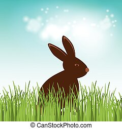 Brown Cute Chocolate bunny in grass. Vector easter illustration.