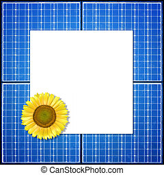 solar panel - A solar panel frame with a sun flower