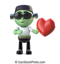 3d Child frankenstein monster is in love