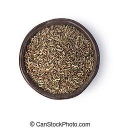 oregano spices on white background