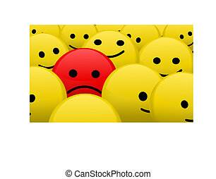 alone in the crowd - vector red sad smiley between bunch of...