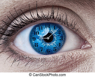 Blue woman eye with clock - concept photo