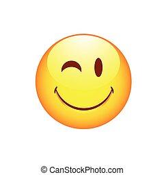 Smiling smiley winking eye