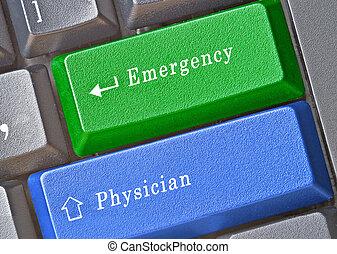 Keyboard with keys for emergency