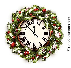 2017 New Year round clock. - 2017 New Year round clock with...