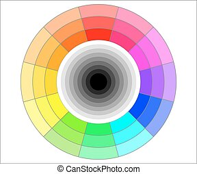 Color wheel illustration - Simple color wheel with shades of...