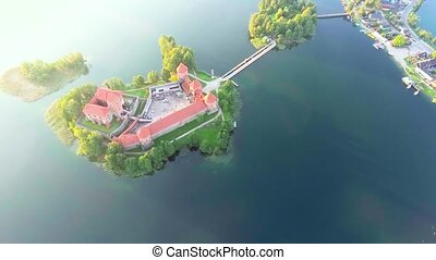 aerial view of old castle on island - aerial view of old...