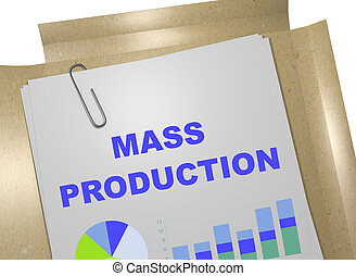 Mass Production concept - 3D illustration of 'MASS...