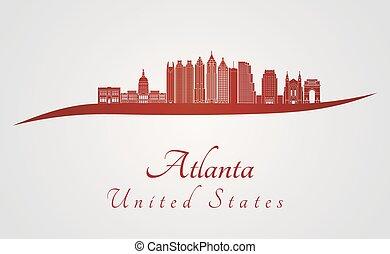 Atlanta V2 skyline in red - Atlanta skyline in red and gray...
