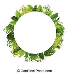 Tropical leaves frame. Floral jungle design background....