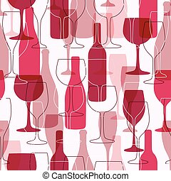 Seamless background with wine bottles and glasses. Bright...