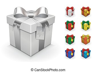 Realistic gift box template. You can color it, just use...