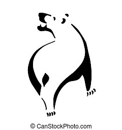 Very high quality original illustration of bear for tattoo...