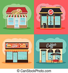 Restaurant or fast food store front set. Cafe shop, pizza...